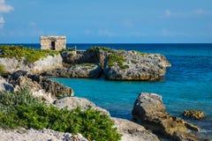 Free Mayan Ruins At Tropical Coast. Landscape. Seaside. Quintana Roo, Mexico, Cancun, Riviera Maya Stock Photography - 111429332