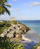 Mayan ruins and Carraibean Sea in Tulum stock images