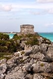 Mayan Ruins on a Cliff above the Ocean Stock Images