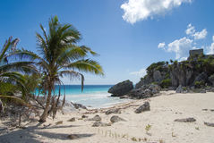 Mayan ruins and exotic beach Stock Images