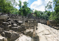 Mayan ruins and hut Stock Image