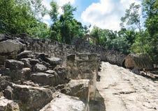 Mayan ruins and hut stock image
