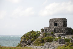 Mayan Ruins on Ocean Cliff. In Mexico Stock Photo