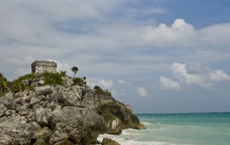 Mayan Ruins on ocean Shore Stock Photo