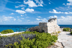 Mayan Ruins on the Point. Remainder of Mayan ruins located on the southern most point of Isla Mujeres Mexico stock images