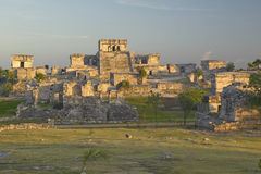 Mayan ruins of Ruinas de Tulum (Tulum Ruins) in Quintana Roo, Mexico. El Castillo is pictured in Mayan ruin in the Yucatan Peninsu Stock Image