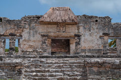 Mayan ruins. Mayan temple and ruins in Tulum Mexico stock images