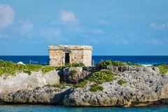 Mayan ruins at tropical coast. Landscape. Closeup. Quintana Roo, Mexico, Cancun, Riviera Maya.  Stock Photos