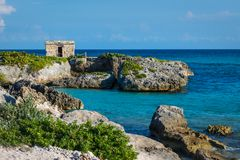 Mayan ruins at tropical coast. Landscape. Seaside. Quintana Roo, Mexico, Cancun, Riviera Maya.  Stock Photography