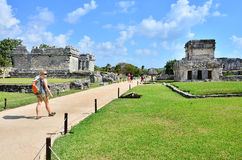 Mayan ruins - Tulum. Tourist in Mayan ruins in Mexico, Tulum Stock Image