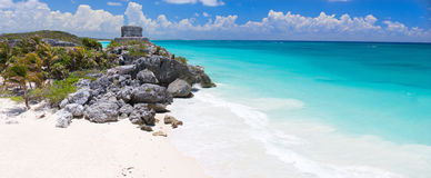 Mayan ruins in Tulum. Mayan ruins and beautiful Caribbean coast in Tulum Mexico Royalty Free Stock Image
