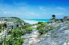 Mayan Ruins of Tulum along beautiful ocean, Mexico Royalty Free Stock Photos
