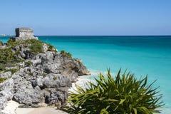 Mayan ruins in Tulum beach, Mexico Stock Photos