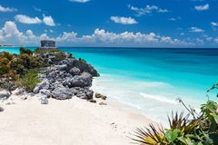 Mayan ruins in Tulum. Mayan ruins and beautiful Caribbean coast in Tulum Mexico stock photos