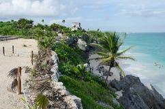 Mayan ruins at tulum,cancun,mexico. Ruins at the beach,tulum royalty free stock image