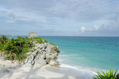 Mayan ruins at tulum,cancun,mexico. Ruins at the beach,tulum royalty free stock photography