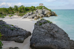Mayan ruins at tulum,cancun,mexico. Ruins at the beach,tulum royalty free stock images