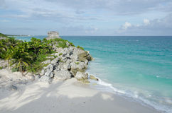 Mayan ruins at tulum,cancun,mexico. Ruins at the beach,tulum royalty free stock photos