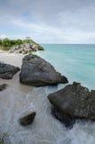 Mayan ruins at tulum,cancun,mexico. Ruins at the beach,tulum royalty free stock photo