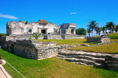 Mayan ruins in Tulum México. Buildings in the ancient Mayan archaeological site of Tulum, Quintana Roo, near the beach with exotic tropical landscape royalty free stock photos