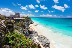 Mayan ruins in Tulum. Mayan ruins and beautiful Caribbean coast in Tulum Mexico stock images