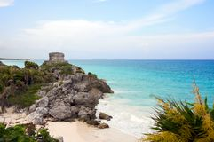 Mayan ruins in Tulum Mexico Royalty Free Stock Photo