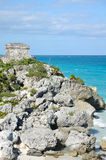 Mayan Ruins at Tulum in Mexico. On the Caribbean Sea Stock Images