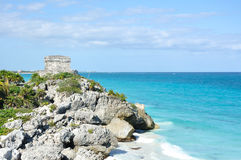 Mayan Ruins at Tulum in Mexico Stock Photo