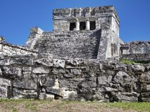 Mayan ruins of Tulum - Mexico. January 28, 2014, Quintana Roo, Mexico - A general view of the Mayan archaeological ruins of Tulum royalty free stock image