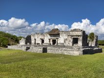 Mayan ruins of Tulum - Mexico. January 28, 2014, Quintana Roo, Mexico - A general view of the Mayan archaeological ruins of Tulum royalty free stock photography