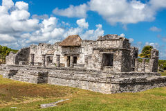 Mayan Ruins of Tulum Mexico. By Playa Del Carma with blue sky and clouds stock images