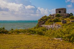 The Mayan ruins in Tulum, Mexico, Yucatan. The ruins were built on tall cliffs on the Caribbean Sea. Tulum was one of the last cities built and inhabited by stock image