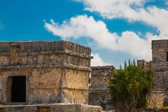 The Mayan ruins in Tulum, Mexico, Yucatan. Tulum was one of the last cities built and inhabited by the Maya.  stock photo