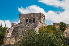 The Mayan ruins in Tulum, Mexico, Yucatan. Tulum was one of the last cities built and inhabited by the Maya.  royalty free stock images