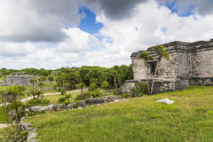 Mayan ruins in Tulum. The national park of Tulum and one of the ebautiful rins visible inside royalty free stock photo