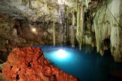 Mayan sacrifice cenote Dzitnup. Mayan sacrifice underground cenote Dzitnup on the peninsula Yucatan. Mexico stock photo