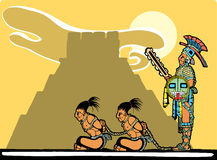 Mayan Sacrifices. Mayan prisoners being guarded before being sacrificed Royalty Free Stock Image