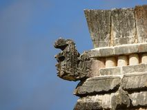 Mayan sculptur of Uxmal`s site Royalty Free Stock Image
