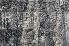 Mayan Sculpture at Chichen Itza, Traveling through Mexico. Royalty Free Stock Image