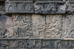 Mayan Sculpture at Chichen Itza, Traveling through Mexico. Stock Photos