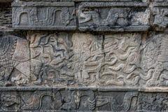 Mayan Sculpture at Chichen Itza, Traveling through Mexico. Stock Photos