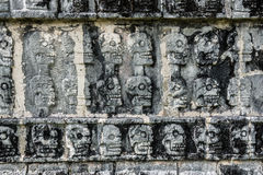 Mayan Sculpture at Chichen Itza, Traveling through Mexico. Stock Photo