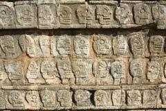Mayan sculpture of Chichen Itza, Yucatan, Mexico. Ancient Maya sculpture of skeleton in Chichen Itza, Yucatan, Mexico Royalty Free Stock Photo
