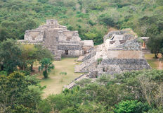 The Mayan site - Ek Balam. View of Oval Palas from on top of the Acropolis at Ek Balam Stock Photography