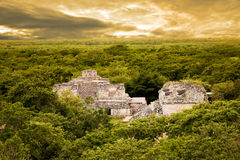 Mayan site of Ek Balam surrounded by jungle, Mexico Royalty Free Stock Images
