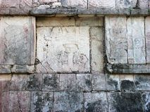 Mayan square stone texure. Grey stone texure in the mayan riveria with cravings and hypographics Stock Photography