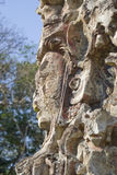 Mayan Statue. Detail of ancient Mayan Gods and demons at Copan, Honduras Stock Photo