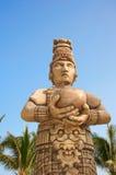 Mayan statue near Cancun. Mayan Ferocious King of Tikal Royalty Free Stock Photos