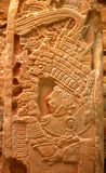 Mayan stele. Close up of mayan theme inscribed in stone stele Stock Photography