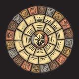 Mayan stenkalender royaltyfri illustrationer
